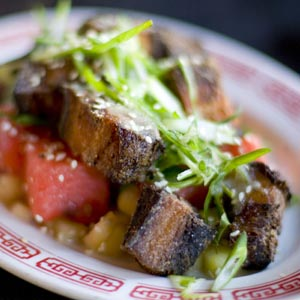 [Watermelon pickle and crispy pork salad]